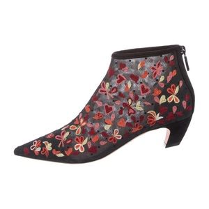 Christian Dior lace/embroidered heart ankle boots